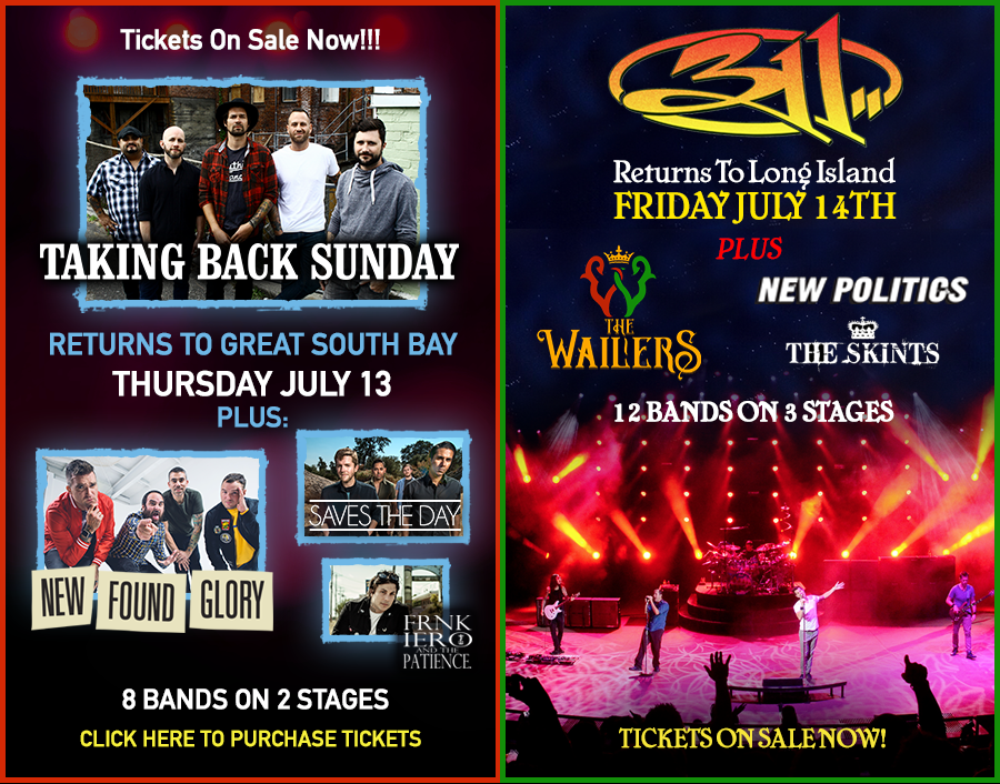 Taking Back Sunday and 311 Return To Great South Bay